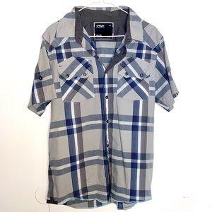 Oakley M plaid western short sleeve snap button
